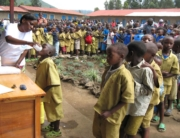 School children being treated for for schistosomiasis